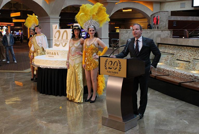 Caesars Windsor President and CEO Kevin Laforet speaks to a crowd at the casino on its 20th anniversary.