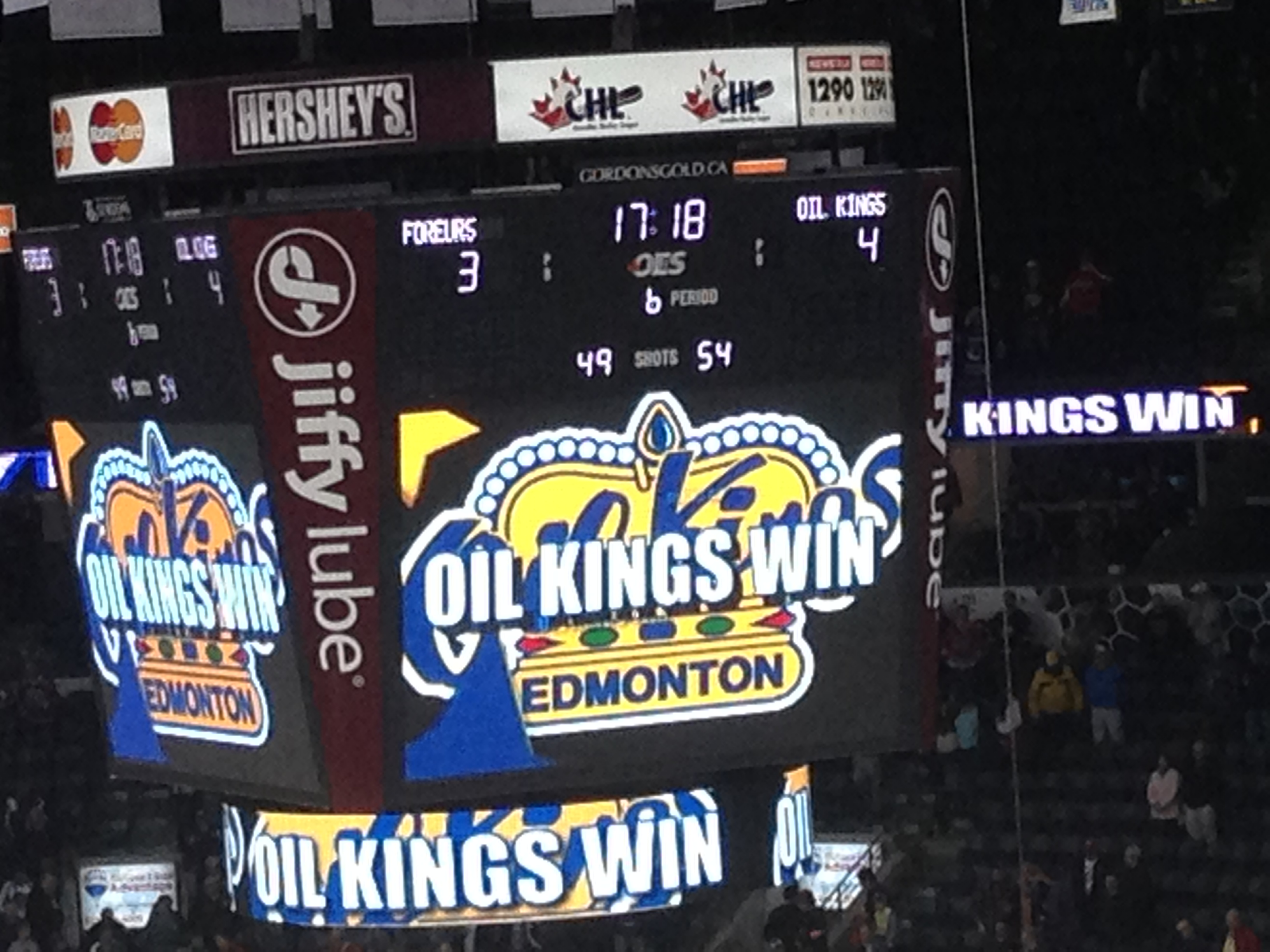 The scoreboard at Budweiser Gardens showing the result of a triple overtime semi-final at the Memorial Cup