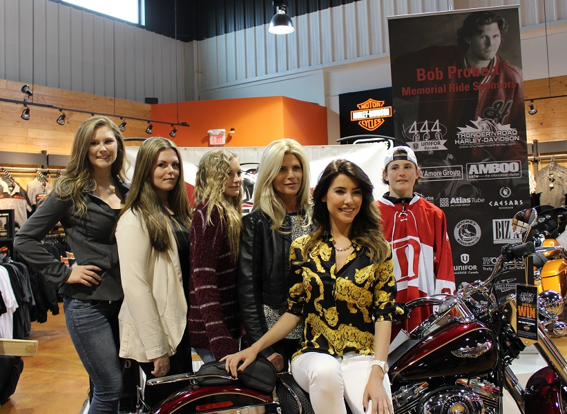 Brogan Probert, Tierney Probert, Declyn Probert, Dani Probert, Jacqueline MacInnes Wood and Jack Probert at the media launch of the Bob Probert Memorial Ride