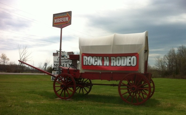 A Rock 'N Rodeo wagon sits outside of the Canadian Transportation Museum & Heritage Village, where this year's rodeo announcement is made. May 7, 2014.