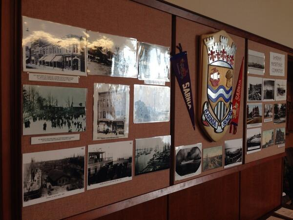 Sarnia council chambers have been decorated with historical photos in advance 100th anniversary May 7. BlackburnNews.com (Photo by Melanie Irwin)