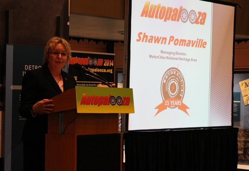 Managing Director with the MotorCities National Heritage Area Shawn Pomaville at Autopalooza press conference.