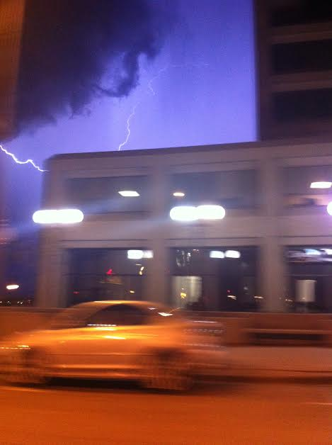 Photo of storm clouds over downtown Sarnia Friday night May 9, 2014 submitted by Michelle Purdy.