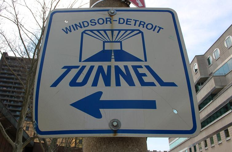 Windsor-Detroit Tunnel sign on Chatham St. in Windsor.