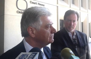 London Mayor Joe Fontana speaks to the media after closing arguments were delivered at his trial. May 29, 2014. (Photo by Avery Moore)