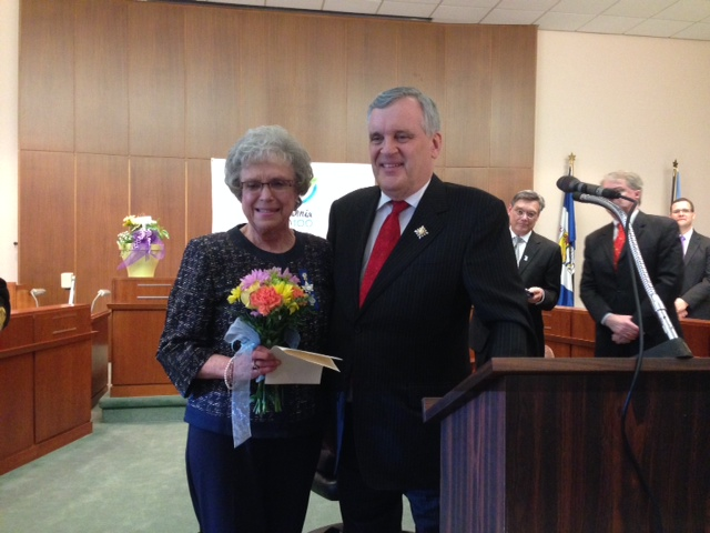 Wilma McNeill is presented with the Lieutenant Governor's Community Volunteer Pin at Sarnia's 100th Birthday Celebration May 7, 2014 BlackburnNews.com (Photo by Melanie Irwin)