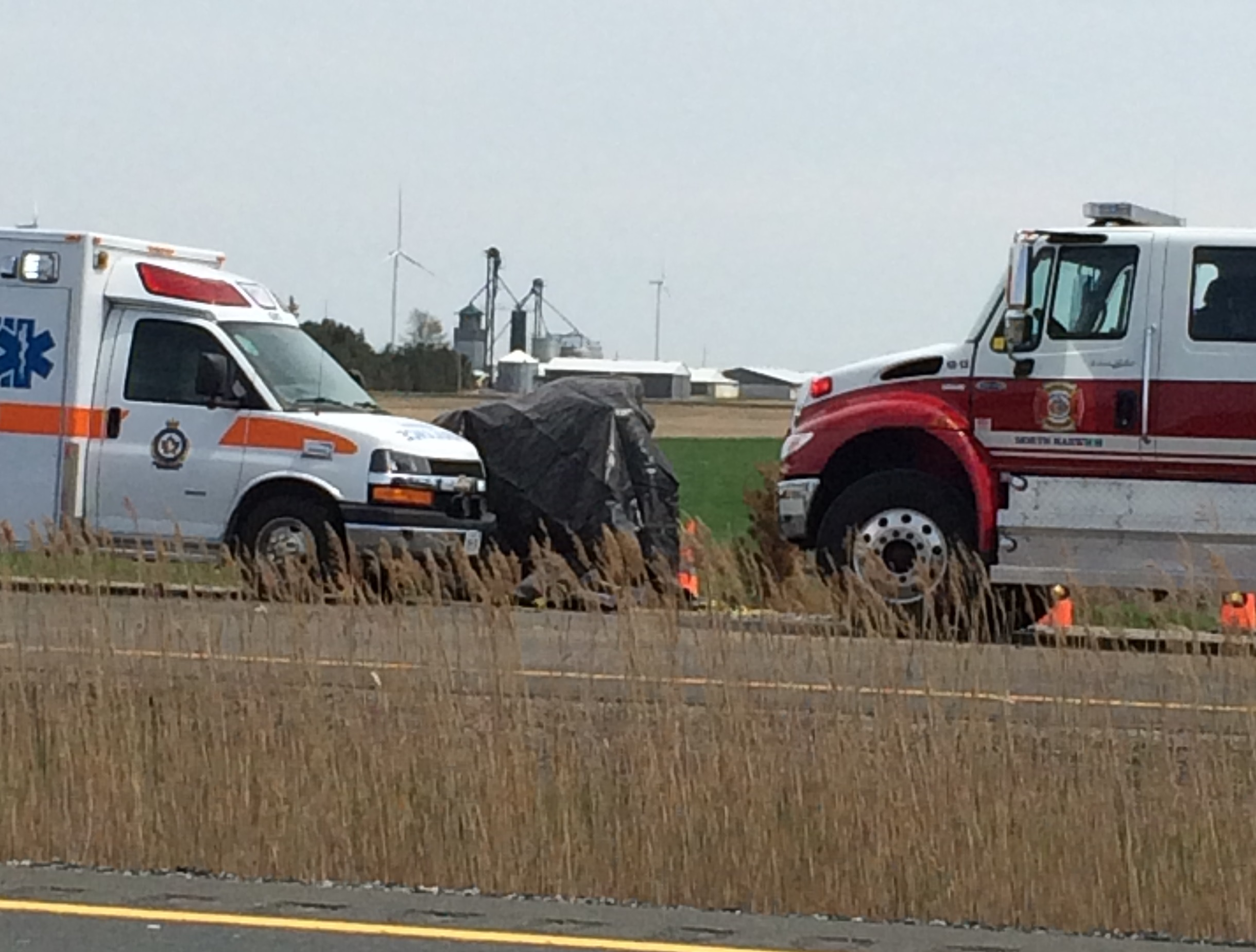 Emergency crews respond to a two-vehicle collision on Hwy. 401, west of Mull Rd, May 10, 2014. (Contributed photo)