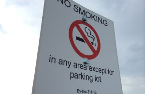 A sign put up at the Leamington Soccer Complex as a result of Leamington's smoke-free outdoor space bylaw. Photo taken May 27, 2014. (Photo by Ricardo Veneza)