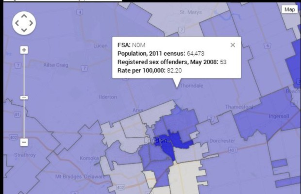 Canadian sex offender registry map.