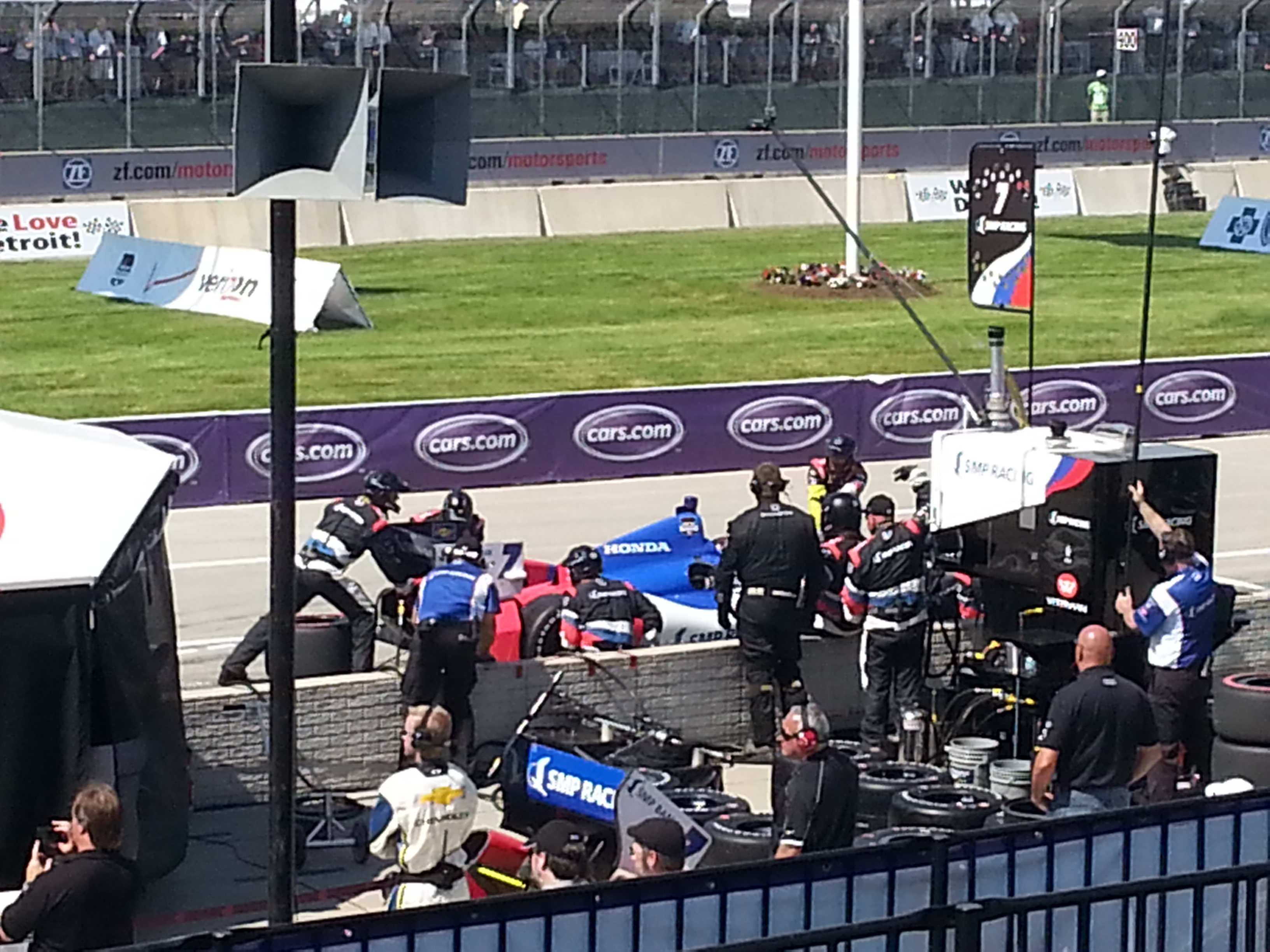 Rookie Mikhail Aleshin pits early at the Detroit Belle Isle Grand Prix, June 1, 2014. (Photo by Cheryl Johnstone)