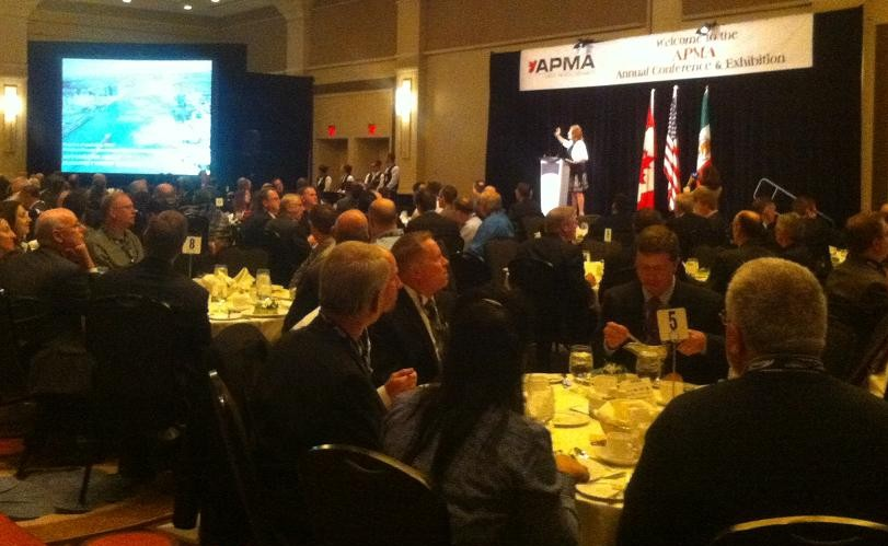 Windsor-Essex Economic Development Corporation CEO Sandra Pupatello speaks to a crowd at the Automotive Parts Manufacturers Association conference at Caesars Windsor.