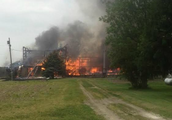 Fire destroys an Alvinston area barn and garage. June 17, 2014 BlackburnNews.com Photo Submitted.