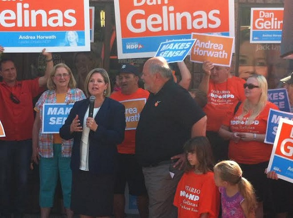 NDP Leader Andrea Horwath rallies support alongside NDP candidate for Chatham-Kent Essex Dan Gelinas. June 6, 2014. Photo by Ashton Patis.