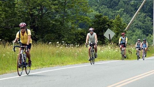 Cyclists in rural area