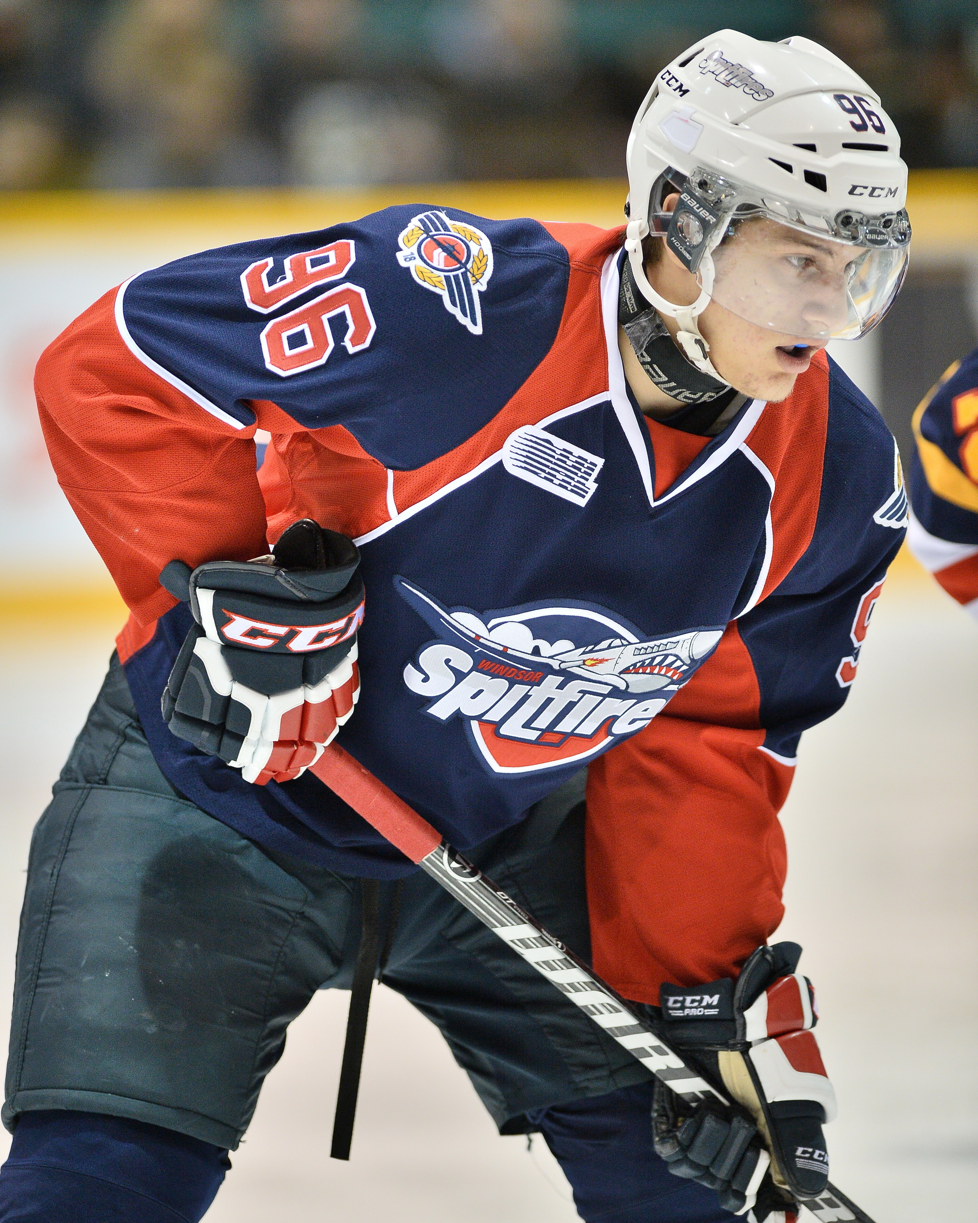 Cristiano DiGiacinto of the Windsor Spitfires, (Photo by Terry Wilson / OHL Images via Windsor Spitfires)