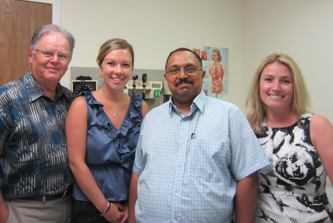 Ken Burchill, Board Chair of the Physician Recruitment Taskforce, Carly Neinhuis, Physician Recruiter (returning from maternity leave) Dr. Jacob Abraham, MD Cindy Scholten, Consultant. Photo submitted.
