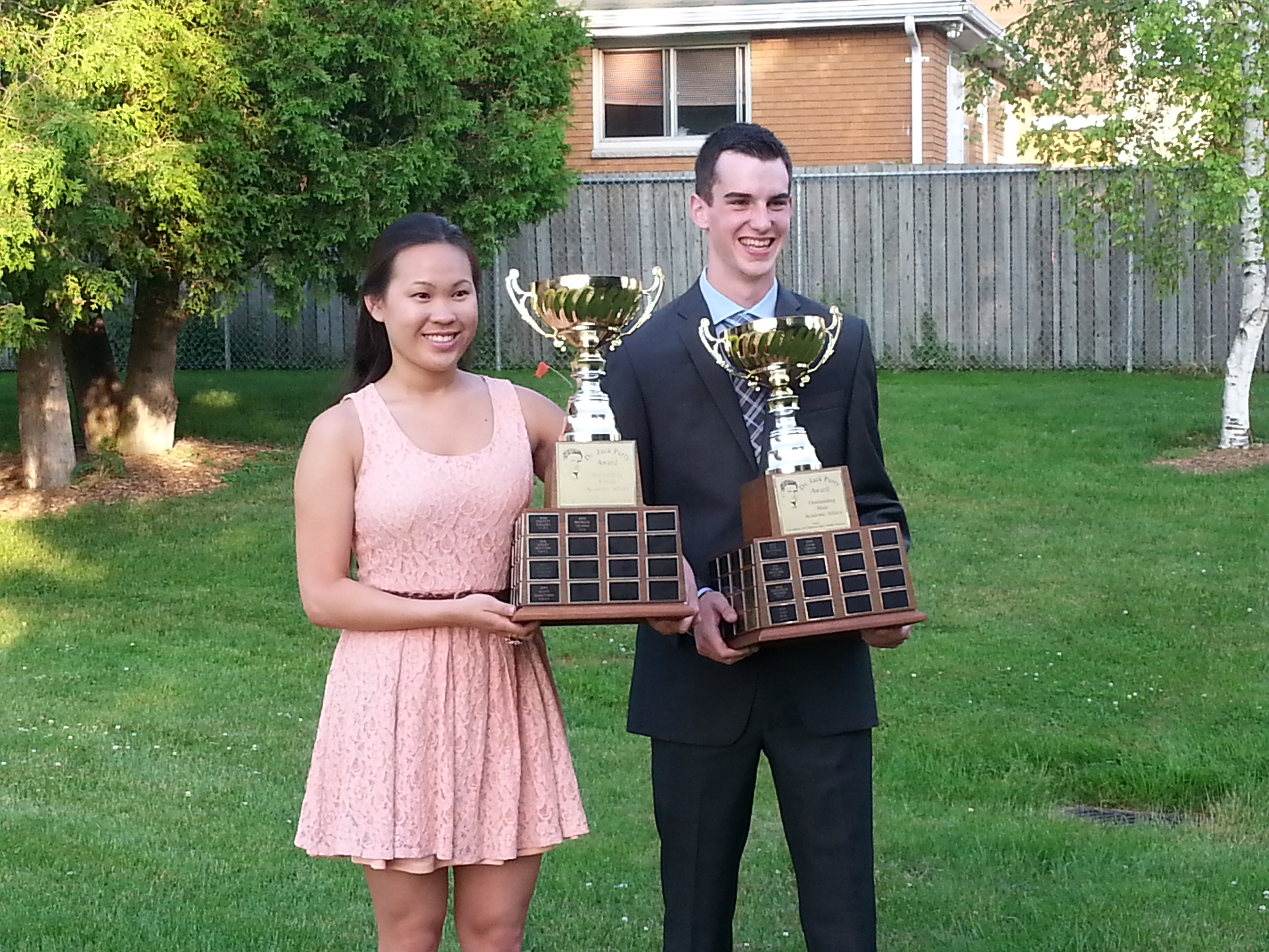 UCC's Michelle Truong & Jake Lindley of CKSS named the 2014 recipients of the Dr. Jack Parry Award. (Photo by Cheryl Johnstone)