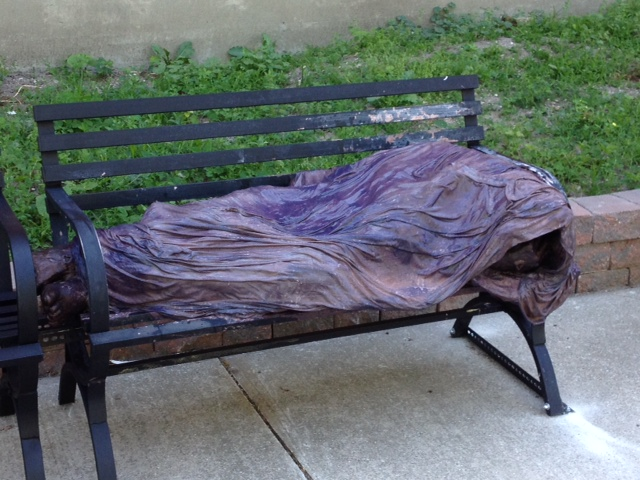 "Church officials have created a statue called ""Homeless Jesus"" to make a statement about the contentious forced closure of its shelter."