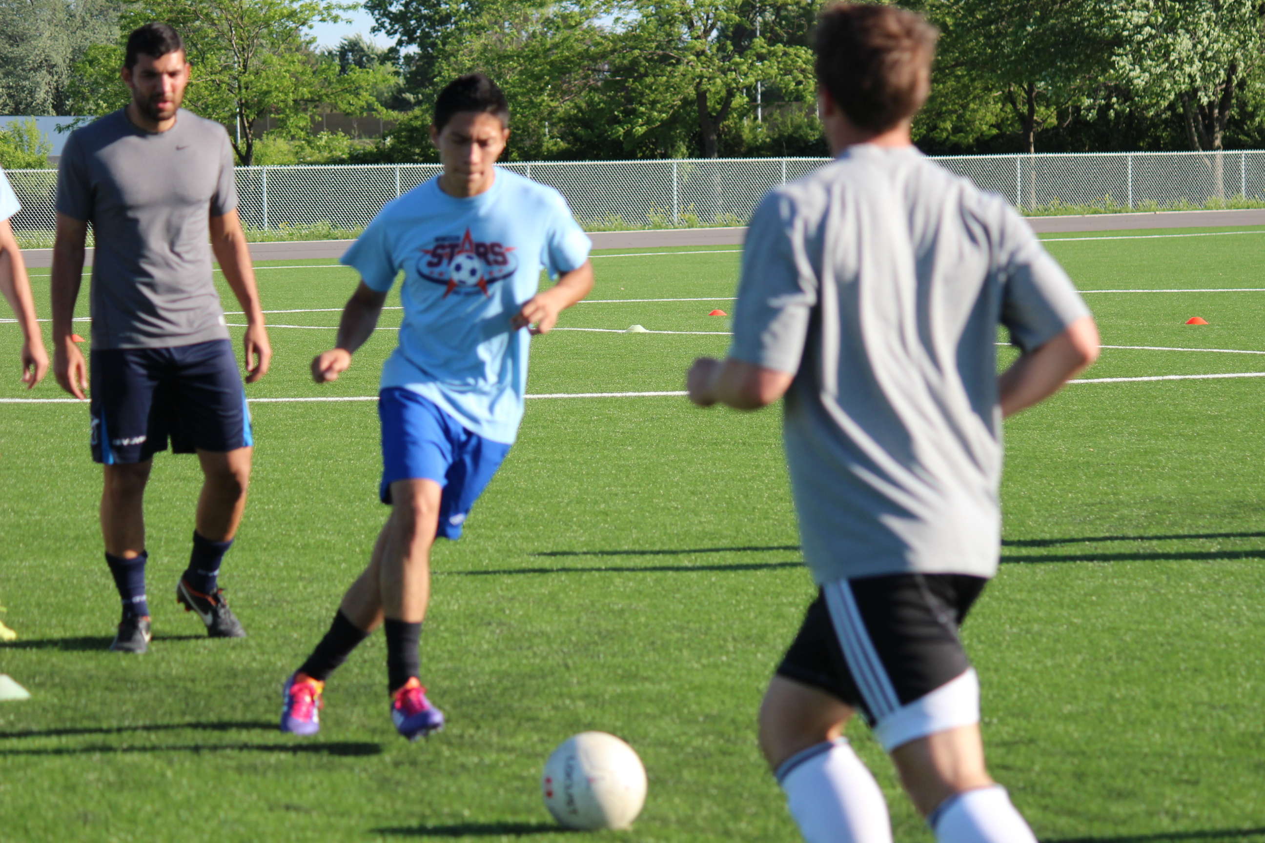Windsor Stars players practice at Academy Ste. Cecile in Windsor's west end on June 3, 2014. (Photo by Ricardo Veneza)
