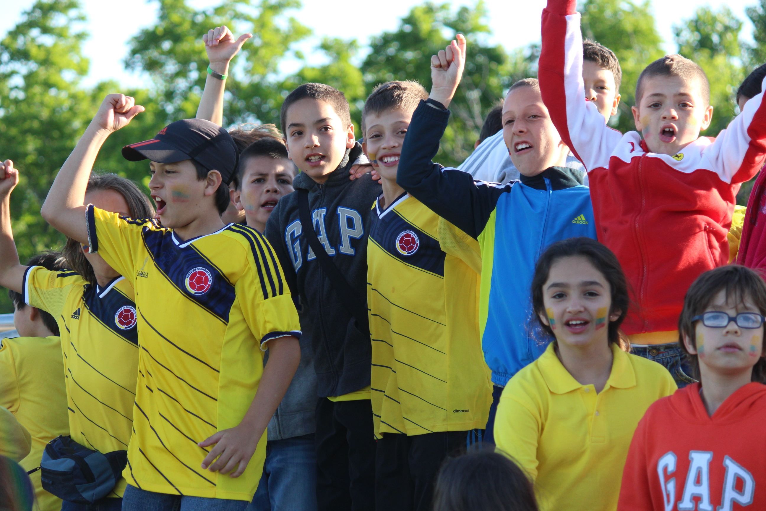 Grade 5 exchange students from Colombia taking in the Windsor Stars game at McHugh Park, June 14, 2014. (Photo by Ricardo Veneza)