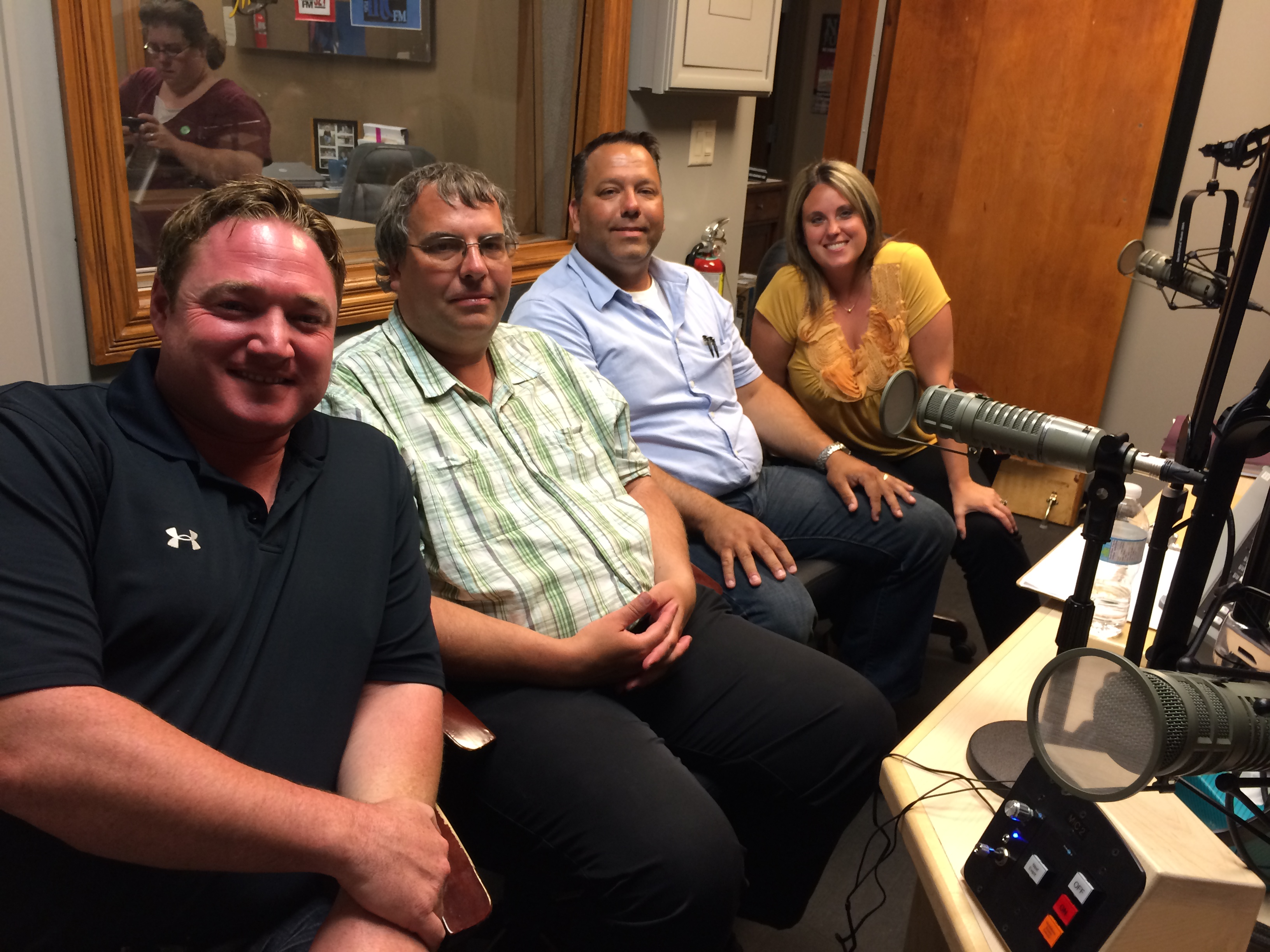 Candidates in the Essex riding for the Ontario 2014 election attend radio debate at Blackburn Radio studios in Leamington on June 10, 2014. From left to right: NDP incumbent Taras Natyshak, Green candidate Mark Vercouteren, PC candidate Ray Cecile, Liberal candidate Crystal Meloche. (Photo by Ricardo Veneza)