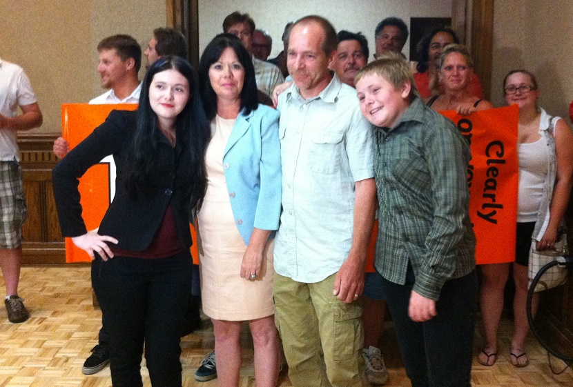 Windsor West MPP Lisa Gretzky is welcomed by her friends and family after winning her riding in the 2014 provincial election. (photo by Ashton Patis)