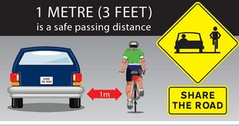 Share the Road image shows a car must stay one metre from a bike when passing
