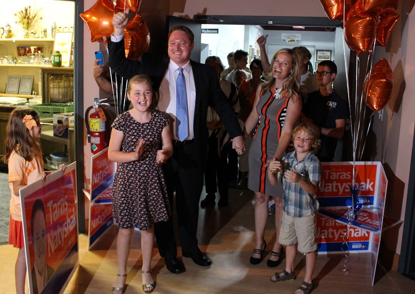 Essex MPP Taras Natyshak is welcomed by friends and family after his election win, June 12, 2014. (photo by Mike Vlasveld)