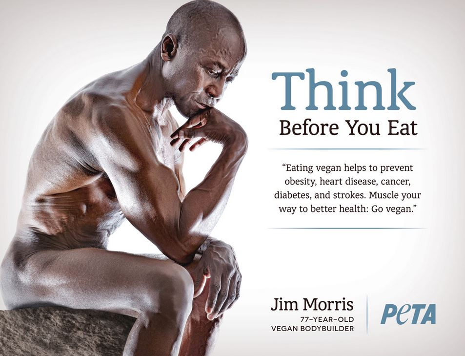 Vegan bodybuilder Jim Morris poses as The Thinker in a poster supporting the vegan diet