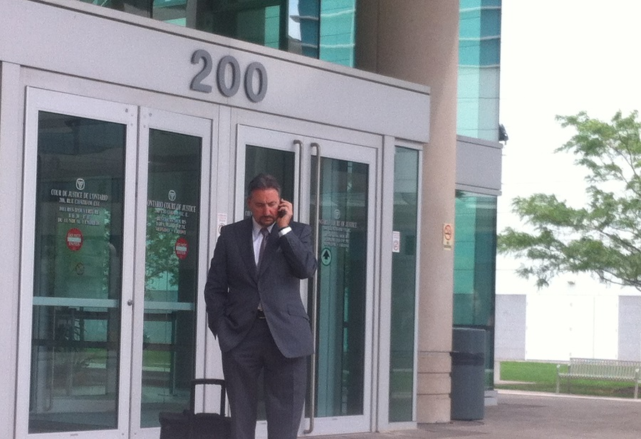 Defence lawyer Patrick Ducharme in front of the Ontario Court of Justice in Windsor. (Photo by Maureen Revait)