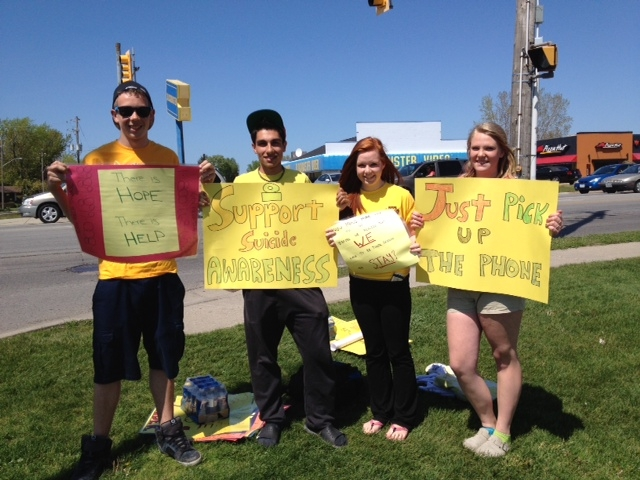 Students in Sarnia Lambton display signs raising awareness to teen suicide locally. BlackburnNews.com File Photo.