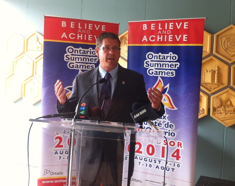 Michael Chantler, Ontario Summer Gamers general managers speaks at a news conference June 18, 2014. (Photo by Maureen Revait)