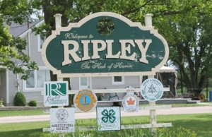 Village of Ripley sign