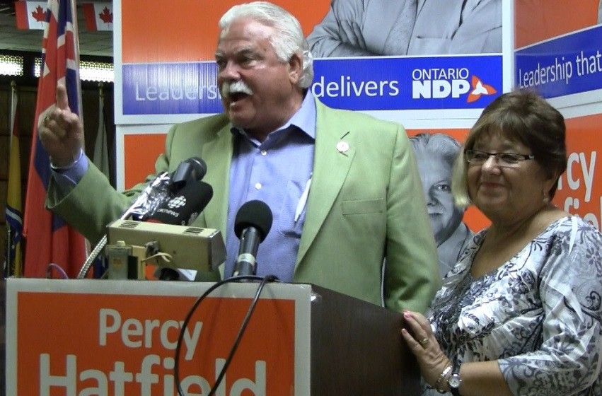 MPP Percy Hatfield with wife Gale Simko-Hatfield during his victory speech on election night. (Photo by Maureen Revait)