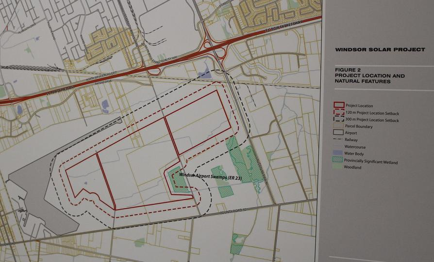 A map of the proposed Windsor Solar Project on Windsor International Airport land. (photo by Mike Vlasveld)