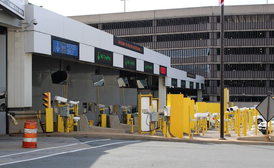A photo of the U.S. customs on the Detroit side of the Windsor-Detroit Tunnel.