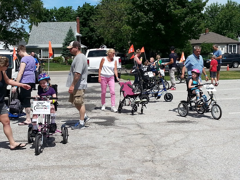 Adapted bikes at the Chatham-Kent Cycling Festival. June 21, 2014 (Photo by Cheryl Johnstone)