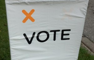 Elections Ontario voting sign. June 12, 2014.