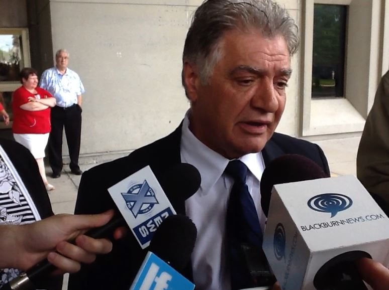 London mayor Joe Fontana speaks to the media outside of the court house after being found guilty of fraud, breach of trust, and uttering forged documents.
