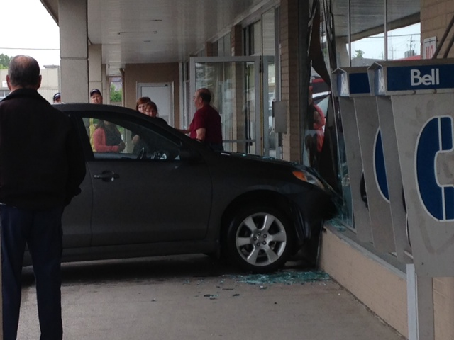 A car smashes into a window at the Pet Value in the 1500-block of Huron Church Rd. Wed. June 4. (Photo by Morgan Malewicz.)