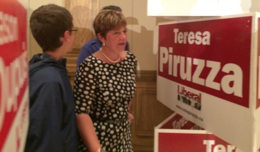 Windsor-West incumbent Teresa Piruzza gives her concession speech at the Liberal election party at Ciociaro Club in Windsor on June 12, 2014. (Photo by Ricardo Veneza)