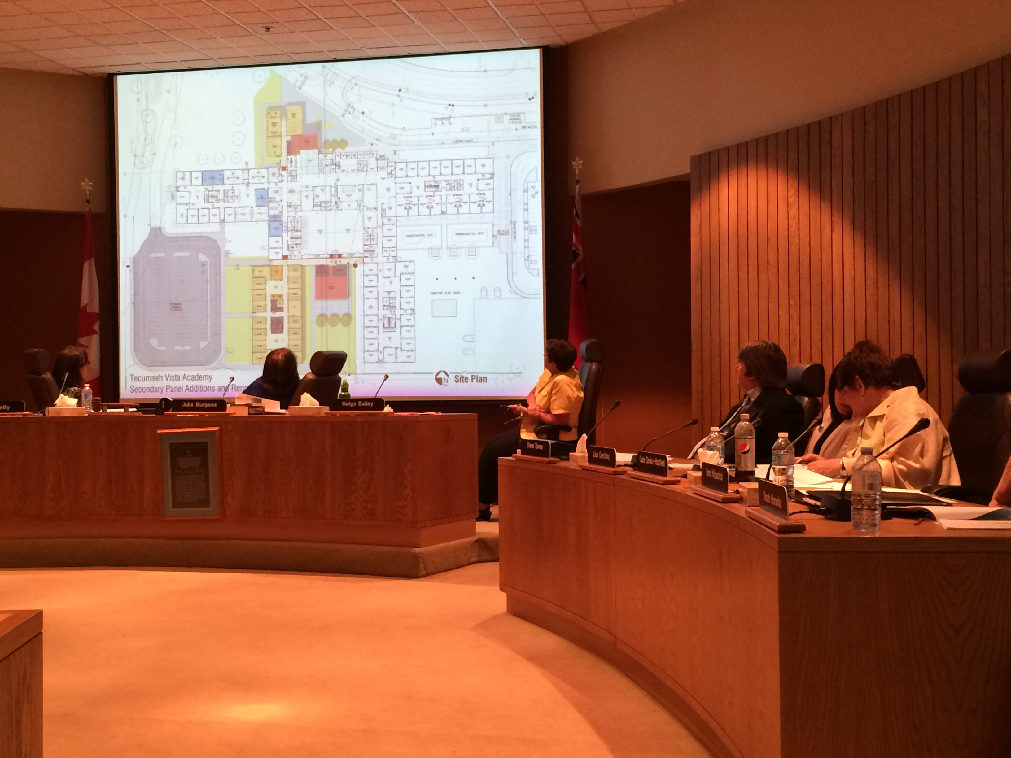 Trustees with the Greater Essex County District School Board look at expansion plans for Tecumseh Vista Academy at their meeting on June 17, 2014. (Photo by Ricardo Veneza)