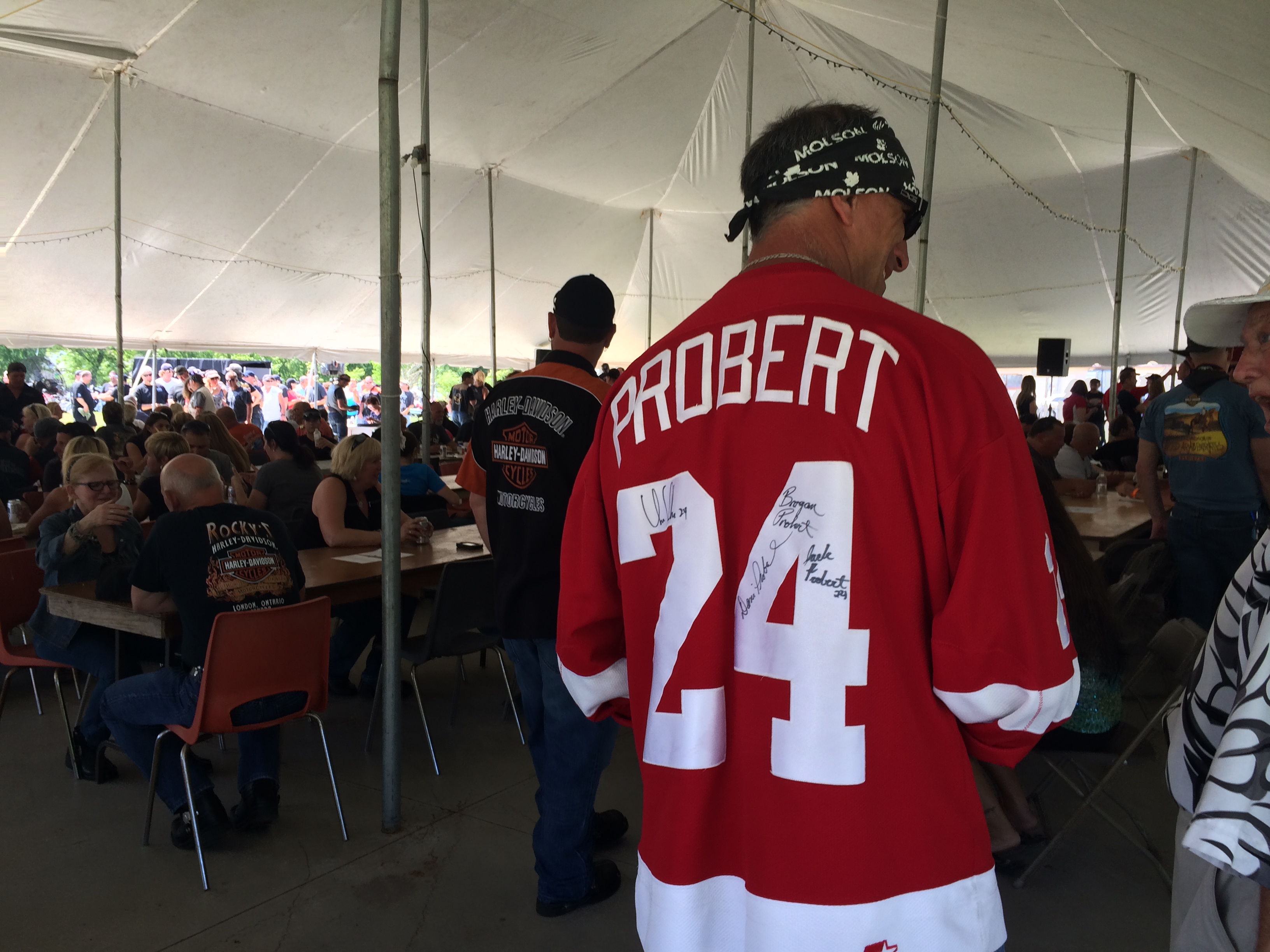 Riders at the Riverside Sportsmen Club for the last stop in the 4th annual Bob Probert Memorial Ride on June 22, 2014. (Photo by Ricardo Veneza)