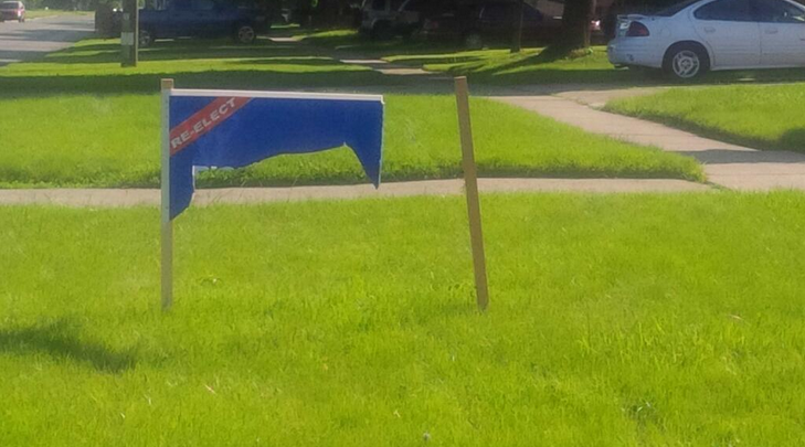 Damaged campaign sign. June 3 2014. (Photo courtesy of Rick Nicholls via Twitter)