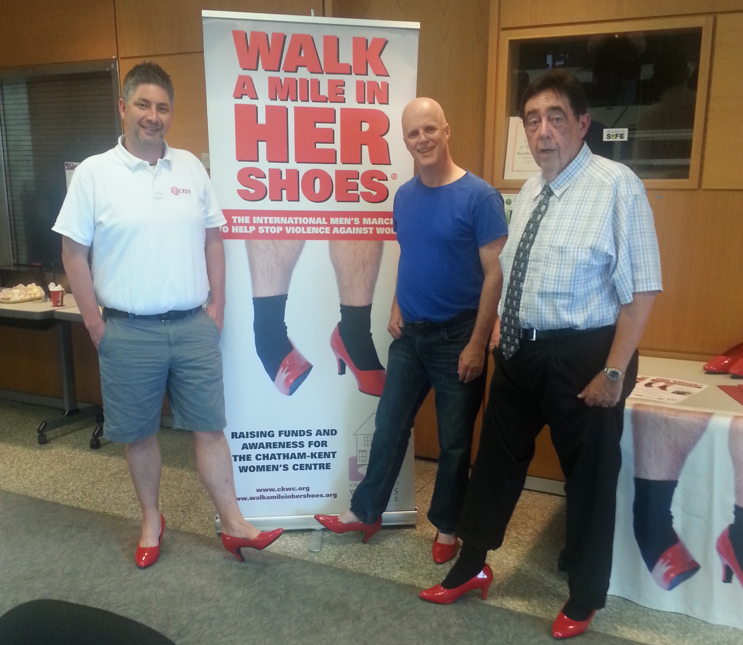Chris McLeod of CKSY, Dave Palmer of CFCO & Women's Centre Executive Director Hal Bushey at the launch of the 2014 Walk a Mile in Her Shoes. (Photo courtesy of Dave Palmer)