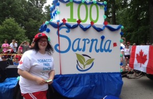 The theme of Sarnia's 2014 Canada Day celebration was Happy Birthday-Sarnia 100 (photo by Dave Dentinger)