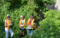 (from left to right) Kate Lloyd-Rees, Sandy Scotchmer, and Erica Clark helping to collect water quality monitoring samples in the Bayfield area. (Courtesy of Ausable Bayfield Conservation Authority)