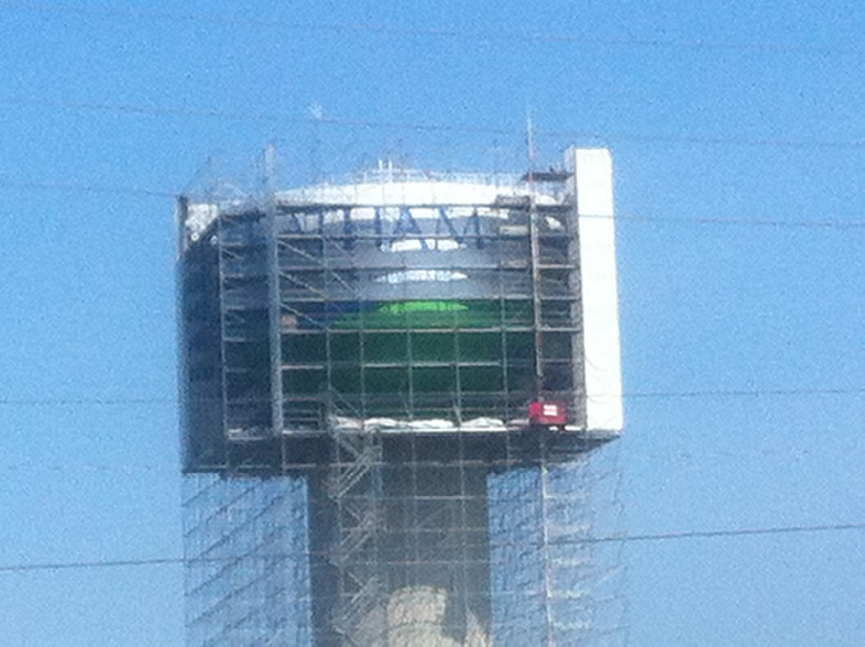 The refurbished Chatham water tower is unveiled July 31, 2014. (Photo by Mike James)