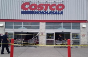A car crashed into the front entrance of Costco on Wellington Rd. S on July 25, 2014. Photo by Avery Moore