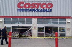 The scene after a car reversed into a Costco store in London. (Photo by Avery Moore)
